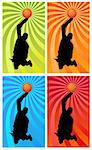 silhouette of a basketball player jumping to the basket Stock Photo - Royalty-Free, Artist: davisales                     , Code: 400-04359271