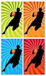 silhouette of a basketball player running with the ball Stock Photo - Royalty-Free, Artist: davisales                     , Code: 400-04359272