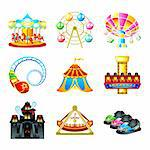 Colorful theme park attraction icons Stock Photo - Royalty-Free, Artist: sahua                         , Code: 400-04360748