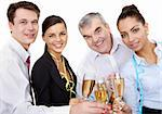 Photo of businesspeople cheering up their flutes filled with sparkling champagne Stock Photo - Royalty-Free, Artist: pressmaster                   , Code: 400-04362128