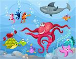 vector illustration of a sea life Stock Photo - Royalty-Free, Artist: nem4a                         , Code: 400-04362296