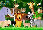 vector illustration of animal in the jungle Stock Photo - Royalty-Free, Artist: dagadu                        , Code: 400-04363476