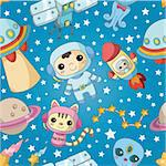 seamless cartoon space pattern Stock Photo - Royalty-Free, Artist: notkoo2008                    , Code: 400-04364850