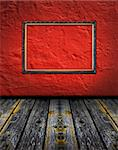 vintage red terracotta interior with empty classic frame hanging on the wall concept dissonance Stock Photo - Royalty-Free, Artist: mrVitkin                      , Code: 400-04365314