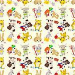 seamless cartoon animal pattern Stock Photo - Royalty-Free, Artist: notkoo2008                    , Code: 400-04365489