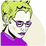 Pop Art Woman comic book style with dot Stock Photo - Royalty-Free, Artist: icons                         , Code: 400-04365743