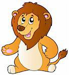 Cartoon standing lion - vector illustration. Stock Photo - Royalty-Free, Artist: clairev                       , Code: 400-04365843