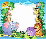 Frame with tropical animals 2 - vector illustration. Stock Photo - Royalty-Free, Artist: clairev                       , Code: 400-04365864