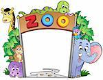 Zoo entrance with various animals - vector illustration. Stock Photo - Royalty-Free, Artist: clairev                       , Code: 400-04365869