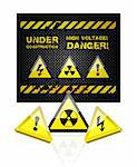 danger grunge background with sign set illustration Stock Photo - Royalty-Free, Artist: sermax55                      , Code: 400-04366183