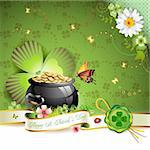 St. Patrick's Day card design with butterfly and clover Stock Photo - Royalty-Free, Artist: Merlinul                      , Code: 400-04368433