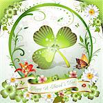 St. Patrick's Day card. Frame with clover, flowers and butterflies Stock Photo - Royalty-Free, Artist: Merlinul                      , Code: 400-04368435
