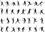 32 different tennis players silhouettes - vector Stock Photo - Royalty-Free, Artist: nebojsa78                     , Code: 400-04368513