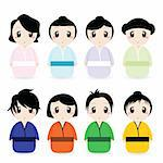 vector set of cartoon geishas Stock Photo - Royalty-Free, Artist: emirsimsek                    , Code: 400-04368538