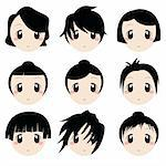 vector set of cartoon faces Stock Photo - Royalty-Free, Artist: emirsimsek                    , Code: 400-04368539
