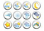 Set of several weather buttons, vector illustration