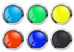 Vector illustration of colorful glossy buttons Stock Photo - Royalty-Free, Artist: pressmaster                   , Code: 400-04369087