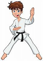 Young boy, Karate Player. Vector cartoon isolated character Stock Photo - Royalty-Freenull, Code: 400-04369151