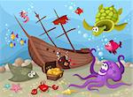 vector illustration of a sea life Stock Photo - Royalty-Free, Artist: nem4a                         , Code: 400-04369265