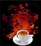 cup of coffee with floral elements,  this illustration may be useful as designer work