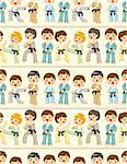 cartoon Karate Player seamless pattern Stock Photo - Royalty-Free, Artist: notkoo2008                    , Code: 400-04369917