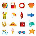 Summer and beach icons on white background Stock Photo - Royalty-Free, Artist: soleilc                       , Code: 400-04370671