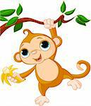 Cute baby monkey on a tree holding banana Stock Photo - Royalty-Free, Artist: Dazdraperma                   , Code: 400-04371170