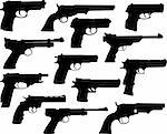 Guns silhouettes collection - vector Stock Photo - Royalty-Free, Artist: nebojsa78                     , Code: 400-04371176