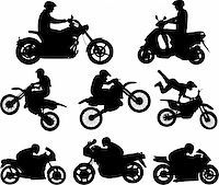 sports scooters - Motorcyclists silhouettes - vector illustration Stock Photo - Royalty-Freenull, Code: 400-04371178