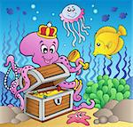Cartoon octopus on treasure chest - vector illustration. Stock Photo - Royalty-Free, Artist: clairev                       , Code: 400-04372753