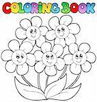 Coloring book with five flowers - vector illustration. Stock Photo - Royalty-Free, Artist: clairev                       , Code: 400-04372758