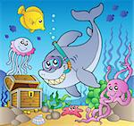 Shark diver with treasure chest - vector illustration. Stock Photo - Royalty-Free, Artist: clairev                       , Code: 400-04372799