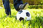 Horizontal image of soccer ball in green grass and shoes Stock Photo - Royalty-Free, Artist: pressmaster                   , Code: 400-04373617