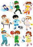 cartoon sport player icon set Stock Photo - Royalty-Free, Artist: notkoo2008                    , Code: 400-04374271