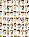 cartoon people work seamless pattern