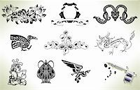 Series set of tattoo flash design elements with tattooists gun or machine Stock Photo - Royalty-Freenull, Code: 400-04374782