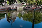 reflection of authentic facades in a canal in delfshaven, netherlands Stock Photo - Royalty-Free, Artist: hansenn                       , Code: 400-04375519