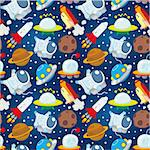 seamless space pattern Stock Photo - Royalty-Free, Artist: notkoo2008                    , Code: 400-04375951