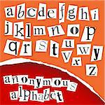 Anonymous alphabet  - white clippings on a red background Stock Photo - Royalty-Free, Artist: orsonsurf                     , Code: 400-04376081