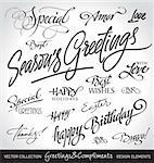 Set of seasonal & holiday greetings & compliments, calligraphy/ hand lettering;