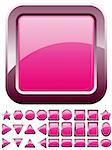 Set of shiny glass pink buttons, vector illustration Stock Photo - Royalty-Free, Artist: MarketOlya                    , Code: 400-04376157