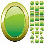 Set of green glass buttons, glossy icons, web spheres, vector illustration Stock Photo - Royalty-Free, Artist: MarketOlya                    , Code: 400-04376158
