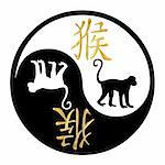 Yin Yang symbol with Chinese text and image of a Monkey Stock Photo - Royalty-Free, Artist: darrenwhi                     , Code: 400-04376223