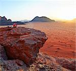 Sunset. Amazing view in desert in Vadi Ram Jordan. Panorama Stock Photo - Royalty-Free, Artist: macsim                        , Code: 400-04376376
