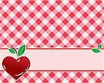 checkered background in red tones decorated with heart-shaped cherries. Vector