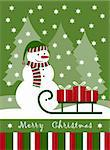 vector Christmas card with snowman and gifts on sledge, Adobe Illustrator 8 format Stock Photo - Royalty-Free, Artist: beta757                       , Code: 400-04378616