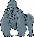 cartoon illustration of funny silver gorilla Stock Photo - Royalty-Free, Artist: izakowski                     , Code: 400-04379795