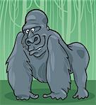 cartoon illustration of funny silver gorilla Stock Photo - Royalty-Free, Artist: izakowski                     , Code: 400-04379796