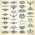 Design elements and page decoration. Vintage ornamental abstract symbols for your layout. Vector set.