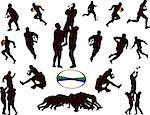 illustration of rugby players collection - vector Stock Photo - Royalty-Free, Artist: violetas                      , Code: 400-04380634